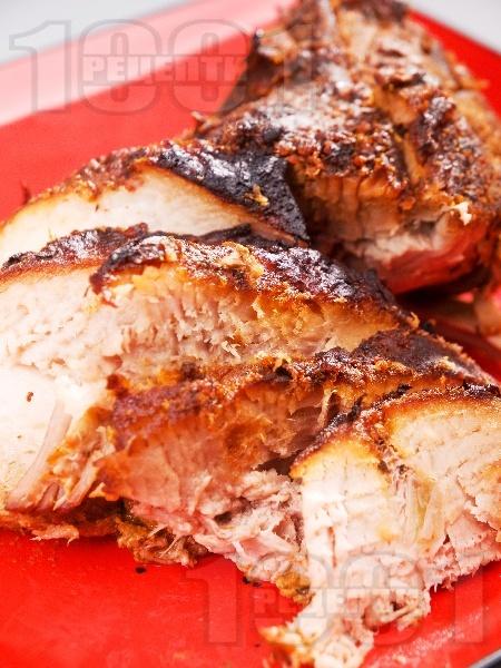 Печена свинска плешка без кост със сметана и лимонов сок в йенско стъкло / тенджера на фурна - снимка на рецептата